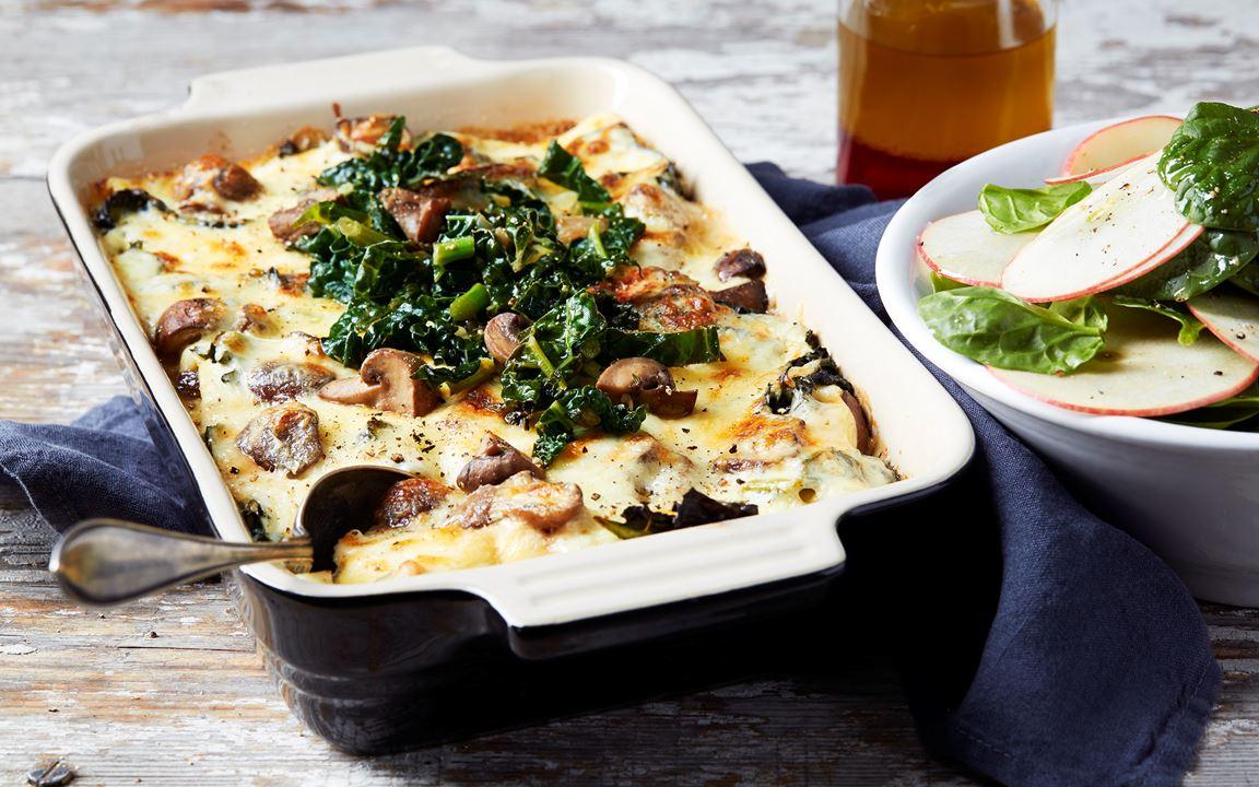 Lasagne med svamp och svartkål