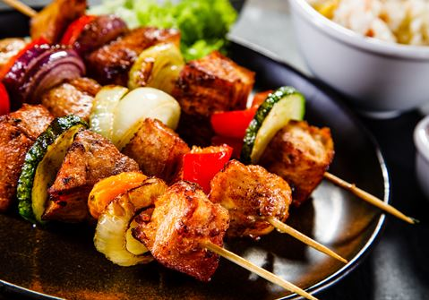 Beef and Squash Skewers with Cabbage Salad