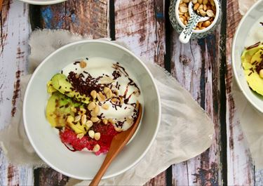 Avocado Yoghurt Ice Cream with Dates, Pistachios and Parsley