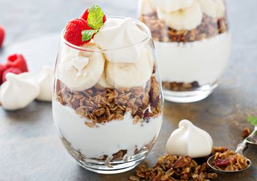 Parfait with Cardamom, Raspberry And Toasted Meringues