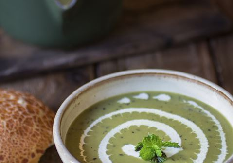 Sweet Pea Soup with Yogurt and Pine Nuts