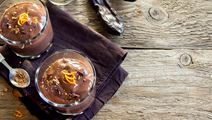 Baked Chocolate Cream with Orange Sauce