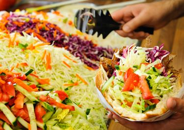 Naan Bread with Cabbage Salad