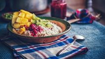 Power Porridge with Raspberry, Mango and Cottage Cheese