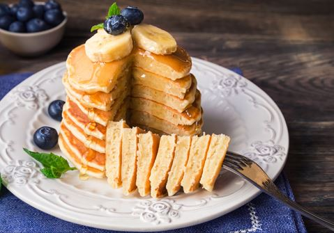 American Pancakes with Fruits and Berries