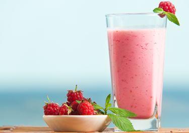 Milk Drink with Raspberries