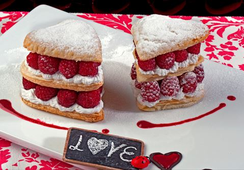 Puff Pastry Hearts With Raspberries