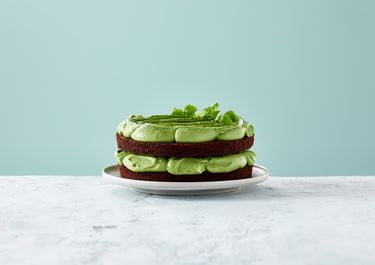 Intense Chocolate Cake with Avocado and Matcha Tea Cream