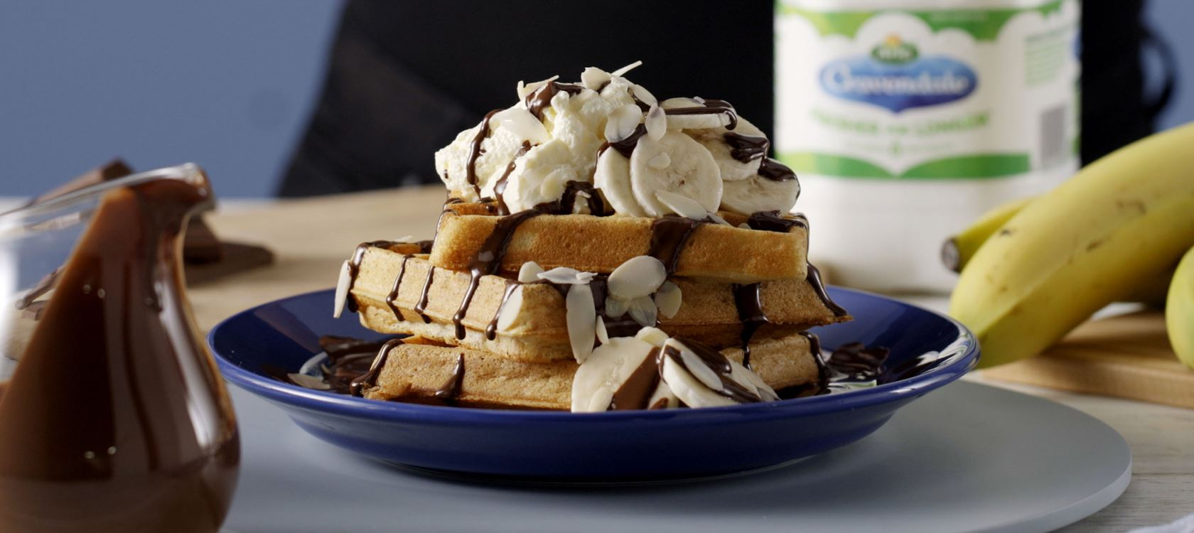 Birthday banana split waffles