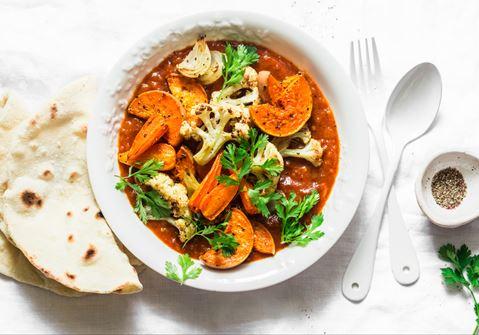 Cauliflower Curry with Sweet Potatoes