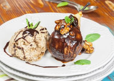Pear Ice Cream with Chocolate Sauce and Meringue