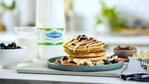Cinnamon Swirl Pancakes with Cream Cheese Drizzle