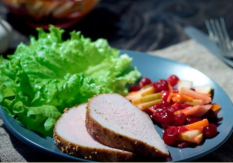Pork Tenderloin Salad with Large Bread Croutons
