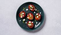Griddled Plums with Cheese and Mint