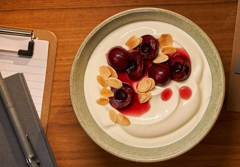 Arla Skyr Creamy with cherries and almond flakes