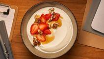 Arla Skyr Creamy with strawberries, walnuts and vanilla syrup