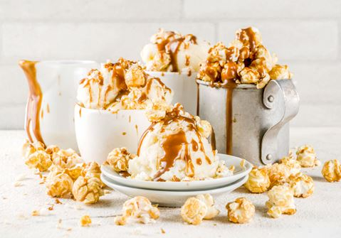 Ice Cream with Popcorn and Roasted Marshmallows
