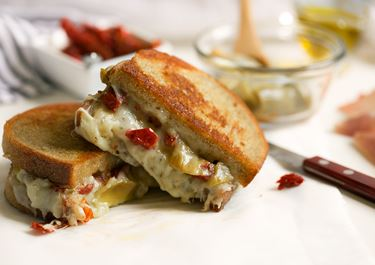 Grilled Cheese with Sun Dried Tomatoes, Artichokes, and Prosciutto