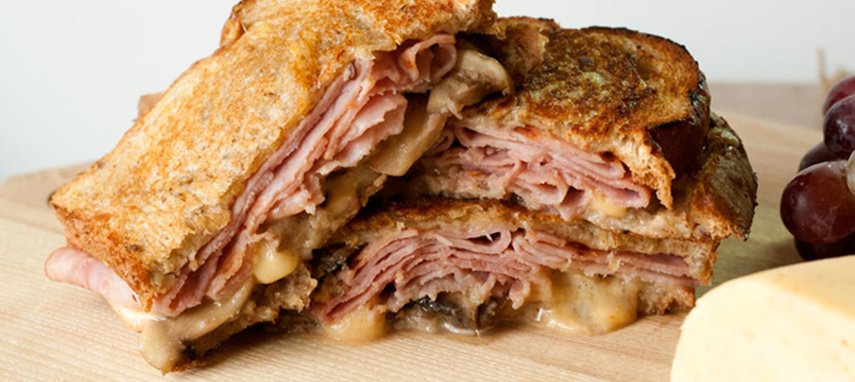 Gouda, Mushroom and Ham Grilled Cheese Sandwich