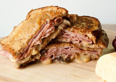 Gouda, Mushroom and Ham Grilled Cheese Sandwich