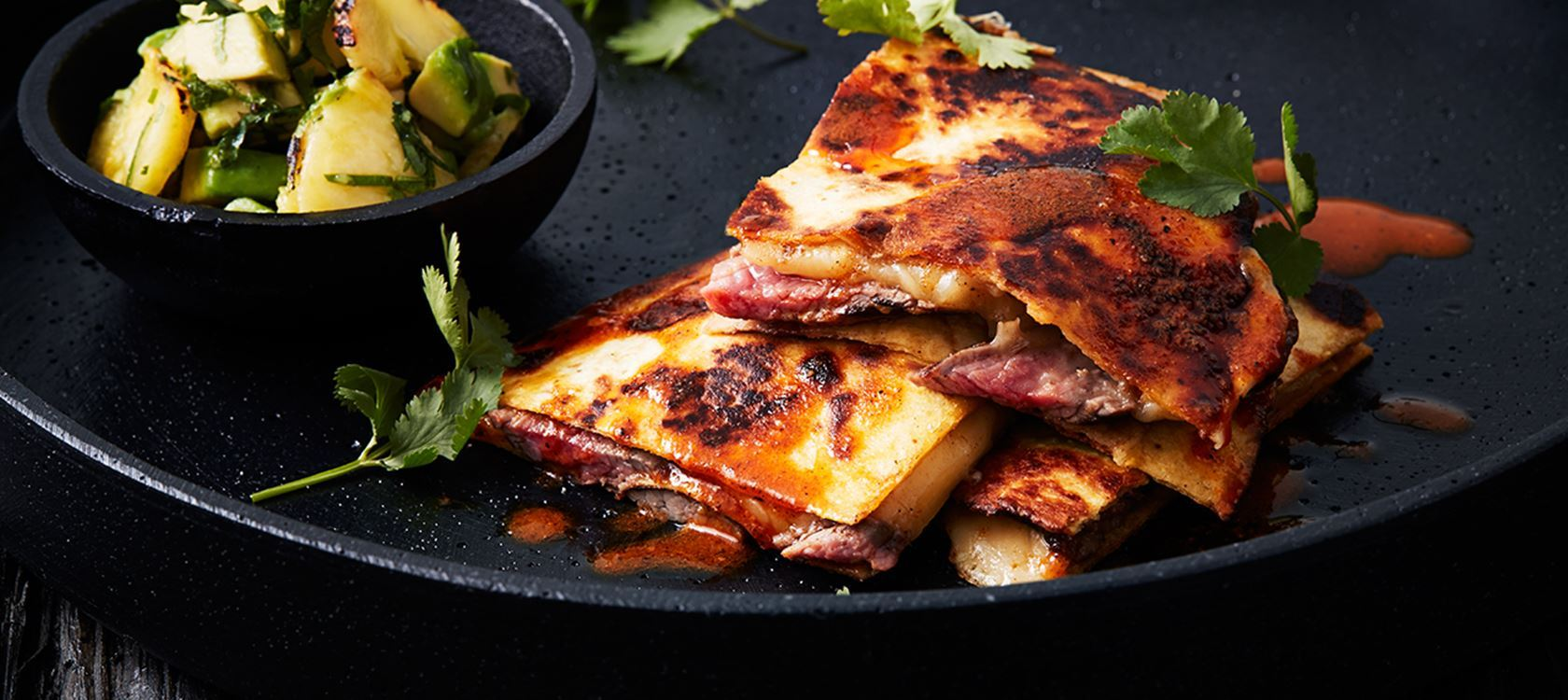 Quesadillas with Steak and Pineapple Avocado Salsa