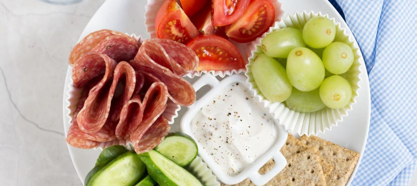 Adult Lunchable with Veggies, Salami & Cream Cheese