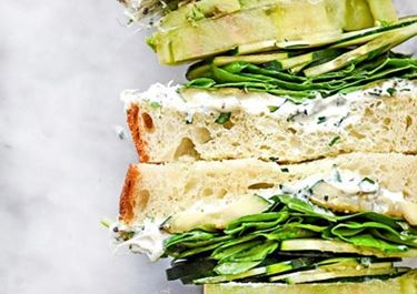 Green Goddess Cream Cheese Veggie Sandwich