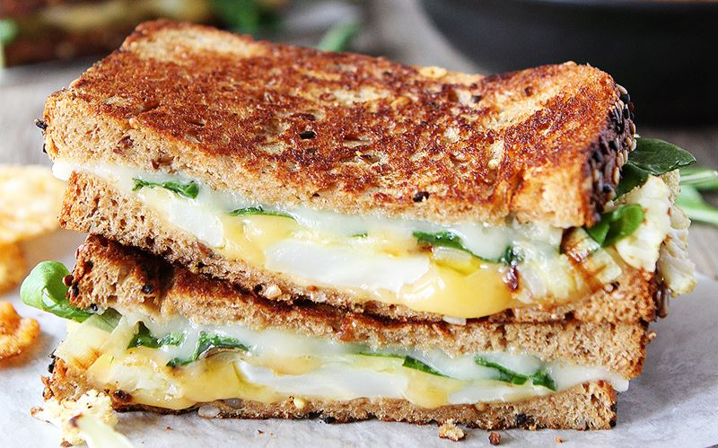 Roasted Cauliflower Havarti and Gouda Grilled Cheese