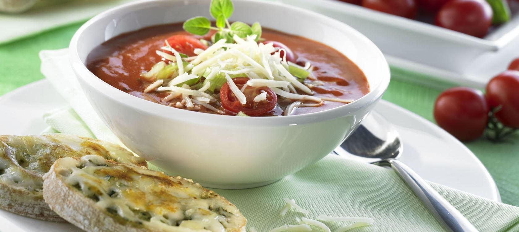Tomato Soup with Pesto Cheese Bread