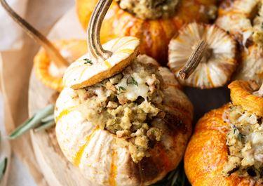 Mini Thanksgiving Dressing Stuffed Pumpkins