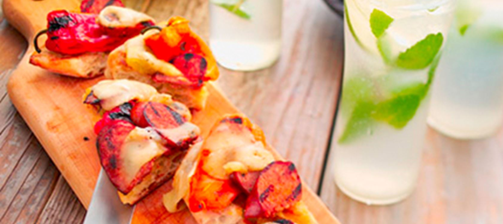 Grilled Chorizo Flatbread with Grilled Pepper and Havarti