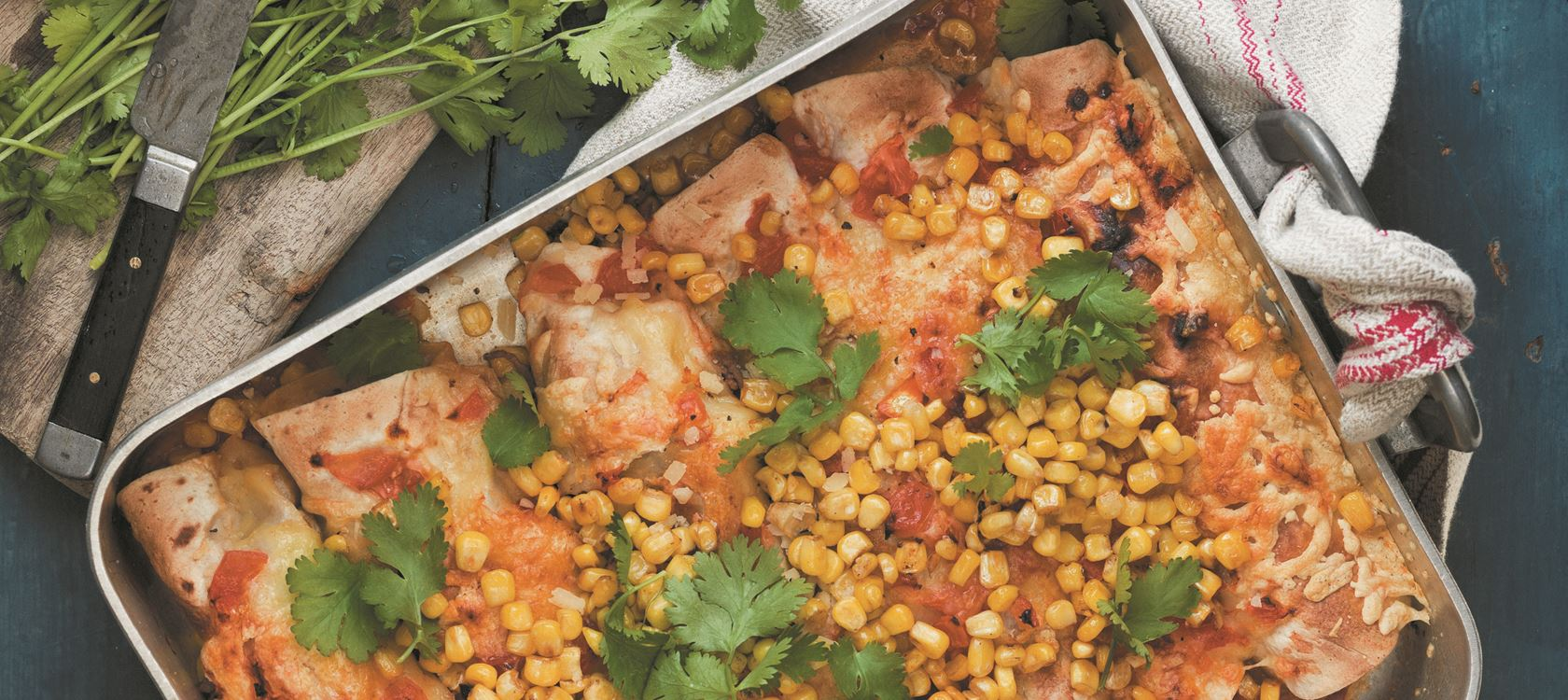 Enchiladas with roasted corn