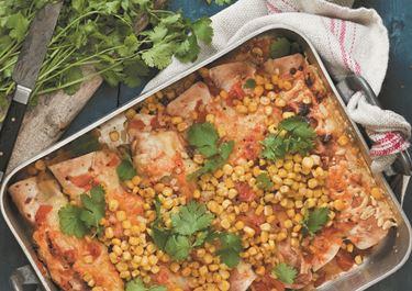 Enchiladas with roasted corn