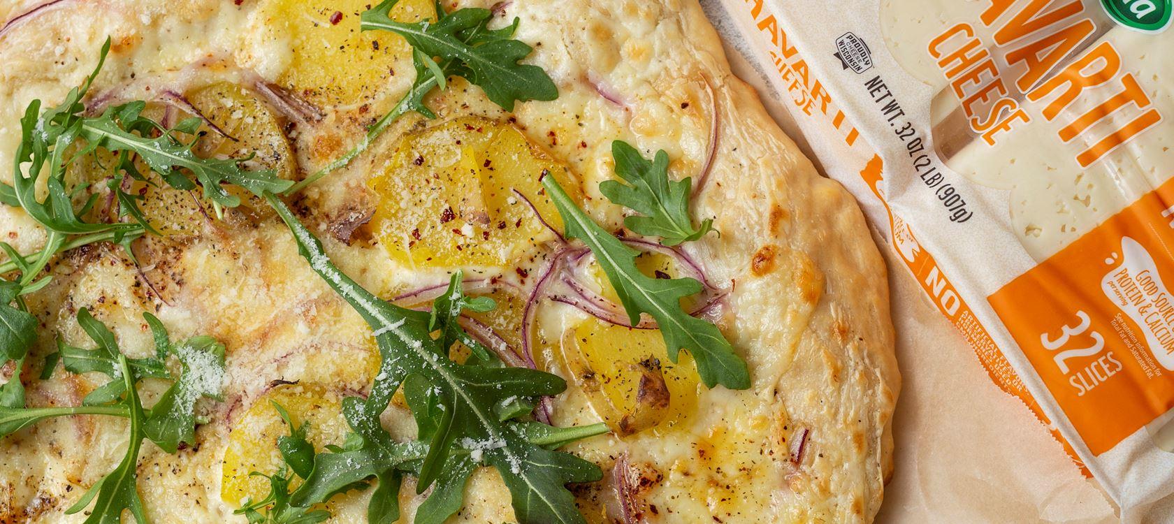 Havarti Cheese Potato Pizza With Alfredo Sauce