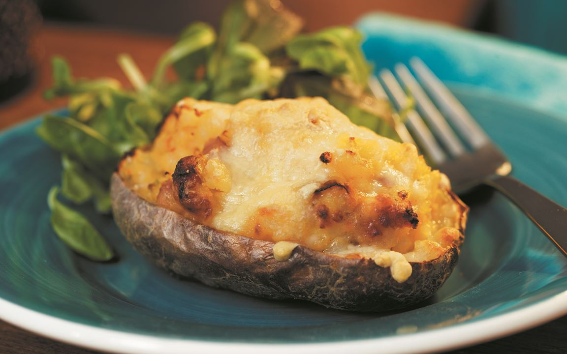 Twice Baked Cheesy Potatoes with Bacon
