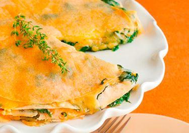 Warm Spinach and Gouda Gateau