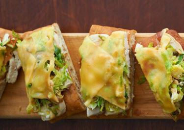 Brussels Sprout Hash with Gouda on Focaccia