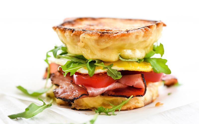 Ham and Gouda Grilled Cheese Breakfast Sandwich