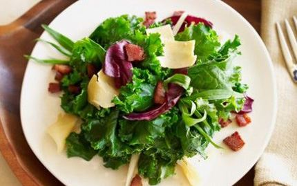 Kale and Apple Salad with Crisp Pancetta and Gouda