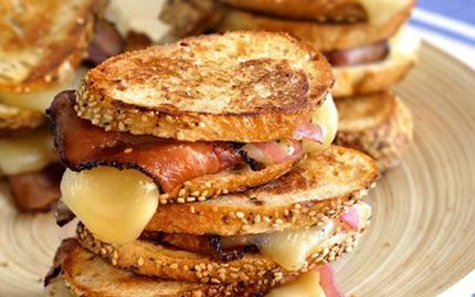 Fontina Toasts: Bacon-Wrapped Cheese Melts