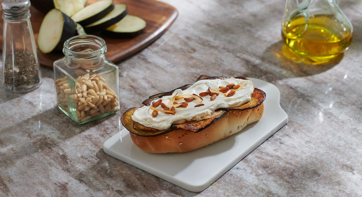 Samoon Bread with Puck Labneh