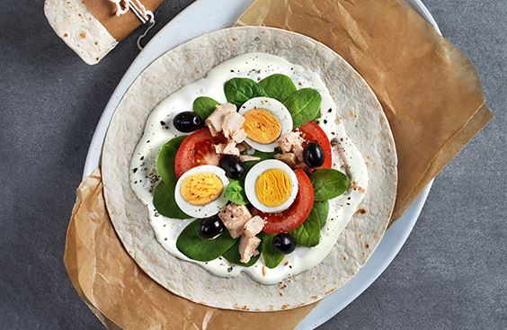 Wrap Nicoise with cream cheese, tuna, vegetables and eggs