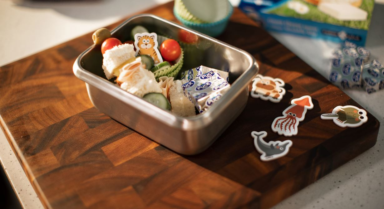 Sandwich Skewer Lunchbox with Veggies and Cream Cheese Squares