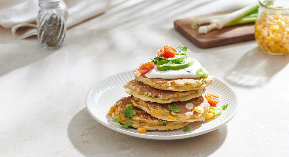 Sweetcorn Fritters with Cheese and Avocado