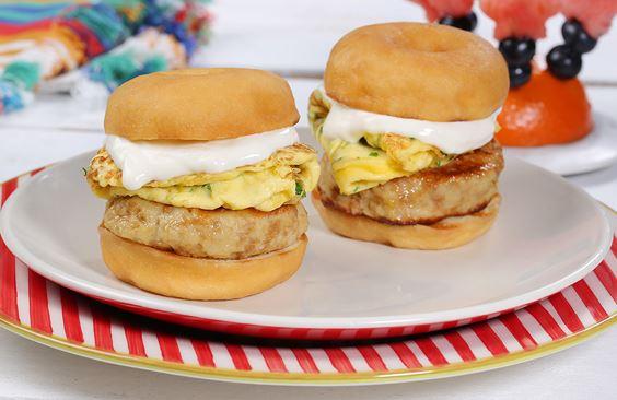 Chicken and Cream Cheese Donut Sandwich