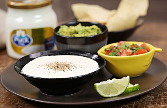 Mexican-style sharing snack platter with cheese
