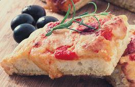 Tomato and Black Olive Mozzarella Focaccia