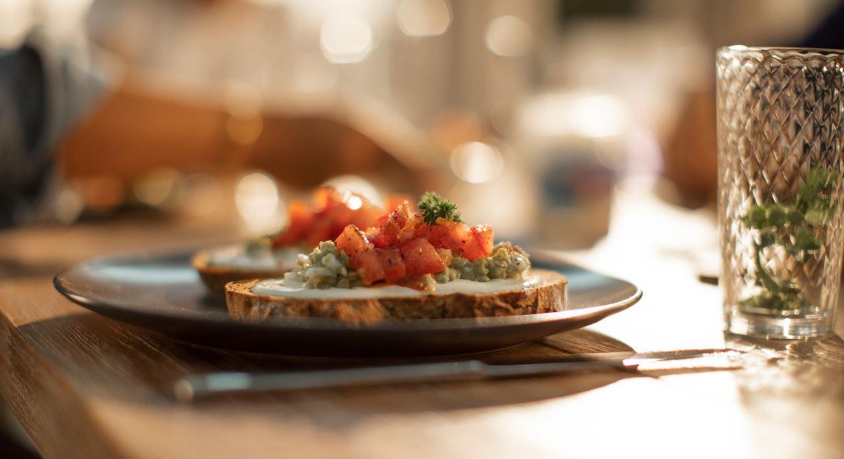 Brown Bread with Egg & Avocado Mash, Less Fat Cream Cheese Spread and Tomato Salsa