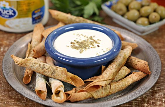 Mini zaatar bites with cheddar cream cheese dip