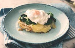 Havarti and Potato Rosti Eggs Florentine